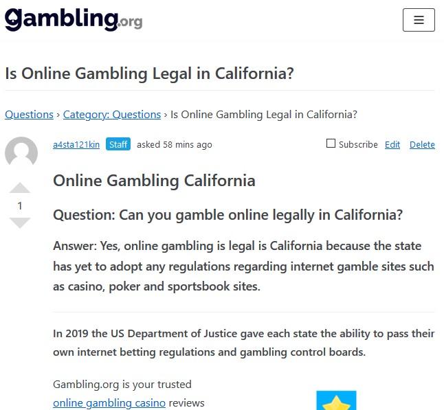 Online Gambling California - Gambling.org